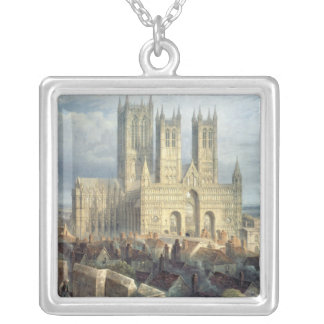 Lincoln Cathedral from the North West, c.1850 Silver Plated Necklace
