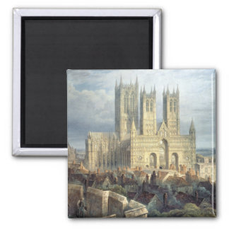 Lincoln Cathedral from the North West, c.1850 Square Magnet