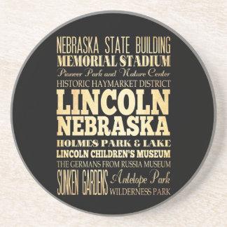 Lincoln City of Nebraska Typography Art Coaster