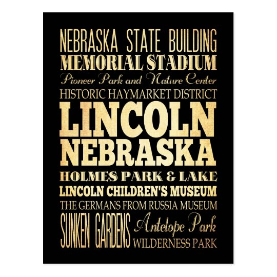 Lincoln City of Nebraska Typography Art Postcard