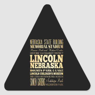 Lincoln City of Nebraska Typography Art Triangle Sticker