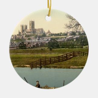 Lincoln City View, Lincolnshire, England Round Ceramic Decoration