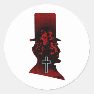 Lincoln Dark Top Hat Round Stickers