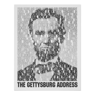 Lincoln/Gettysburg Text Mosaic Poster