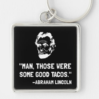 Lincoln Good Tacos Silver-Colored Square Key Ring