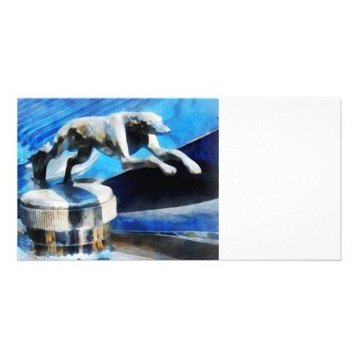 Lincoln Greyhound Hood Ornament Custom Photo Card