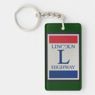 Lincoln Highway Road Sign Double-Sided Rectangular Acrylic Key Ring