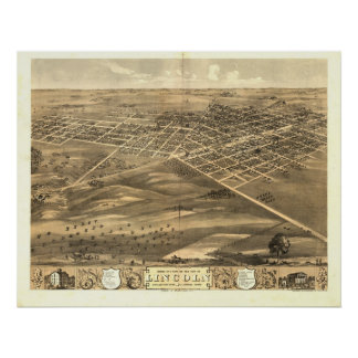 Lincoln Illinois 1869 Antique Panoramic Map Posters