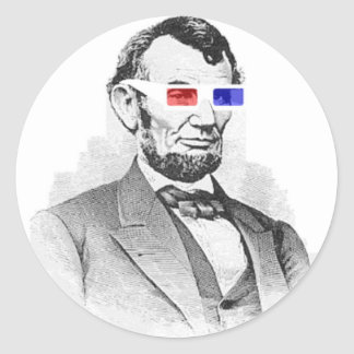Lincoln in 3D! Round Sticker