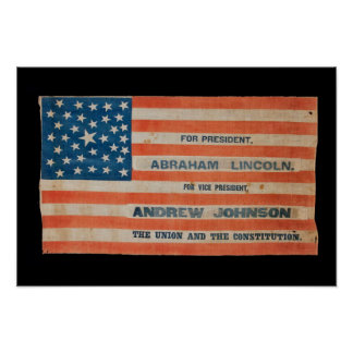 Lincoln Johnson Campaign Banner Flag Poster