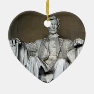 LINCOLN MEMORIAL Double-Sided HEART CERAMIC CHRISTMAS ORNAMENT