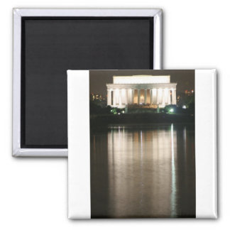 Lincoln Memorial Night Reflection Square Magnet