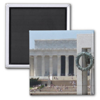 Lincoln Memorial photo view from WWII memeorial Square Magnet