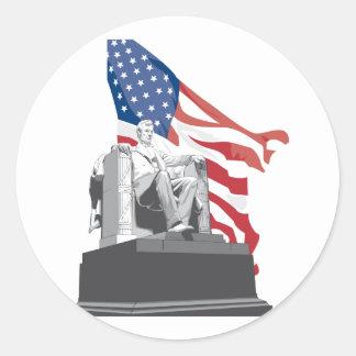 lincoln memorial round sticker