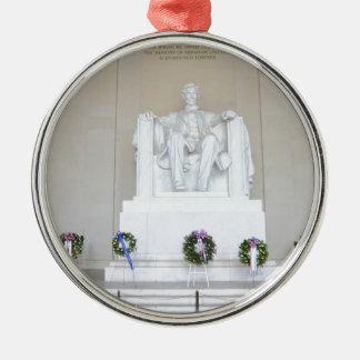 Lincoln Memorial. Silver-Colored Round Decoration