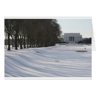 lincoln memorial snow greeting card