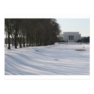 lincoln memorial snow postcard