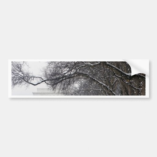 lincoln memorial winter snow bumper sticker