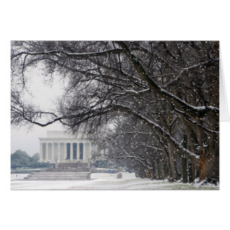 lincoln memorial winter snow greeting card