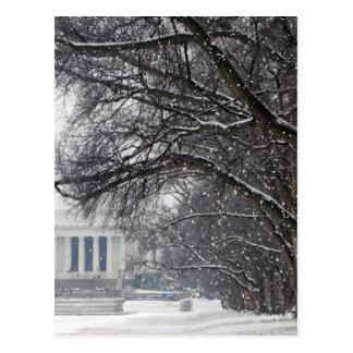 lincoln memorial winter snow postcard