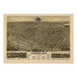 Lincoln, NE Panoramic Map - 1889 Poster