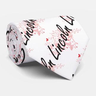 Lincoln Nebraska City Artistic design with butterf Tie