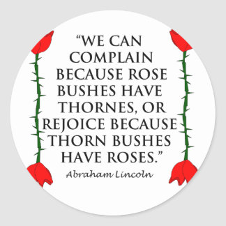 Lincoln on Thornes and Roses Two Roses Round Stickers