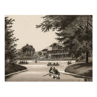 Lincoln park Chicago, Lake and boat house, C. 1880 Postcard