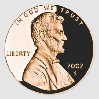 Lincoln Penny 2 Round Sticker