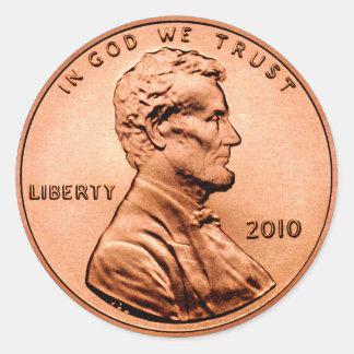 Lincoln Penny Round Sticker