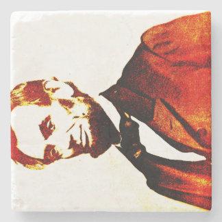 Lincoln Pop Art Colorized Sideways Portrait Stone Beverage Coaster