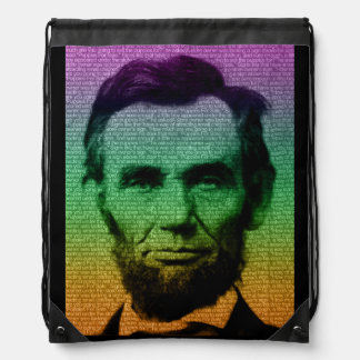 Lincoln rainbow Drawstring Backpack
