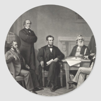 Lincoln Reading the Emancipation Proclamation Round Sticker