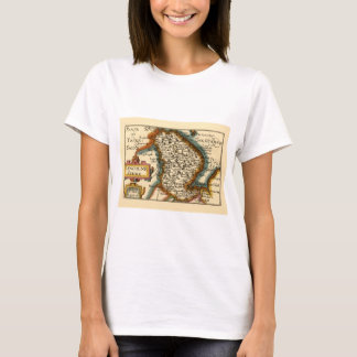 Lincolneshire County Map, England T-Shirt