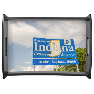 Lincoln's Boyhood Home - Welcome to Indiana Sign Serving Tray