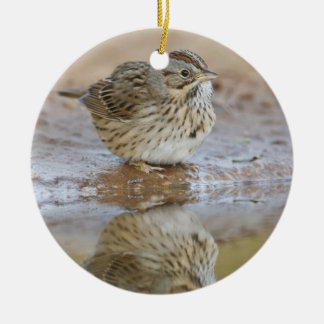 Lincoln's Sparrow reflected in ranch pond Round Ceramic Decoration