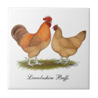 Lincolnshire Buff Chickens Small Square Tile