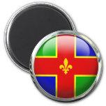Lincolnshire Flag Glass Ball 6 Cm Round Magnet