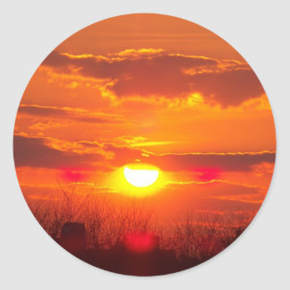 Lincolnshire Sunset 3 Classic Round Sticker