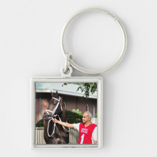 Linda Mimi by Congrats Silver-Colored Square Key Ring