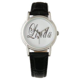 Linda, Name, Logo,Ladies Black Leather Watch. Watch