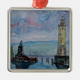 Lindau with Lion and Lighttower on Lake Constance Christmas Ornament