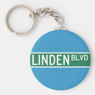 Linden Boulevard Sign Basic Round Button Key Ring