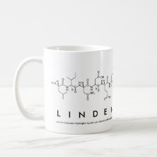 Mug featuring the name Linden spelled out in the single letter amino acid code