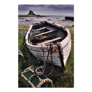 Lindisfarne Castle & Old Boat - Holy Island print Photograph