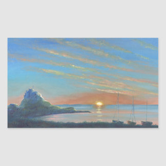 Lindisfarne Castle Sunrise Rectangular Sticker