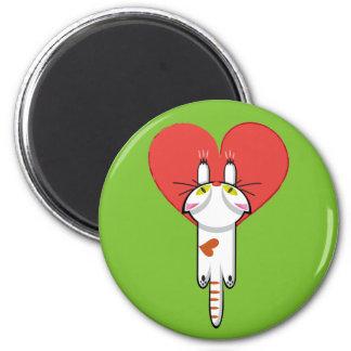 Lindo Gatito aferrado al amor. Gato, cat, kitten. 6 Cm Round Magnet