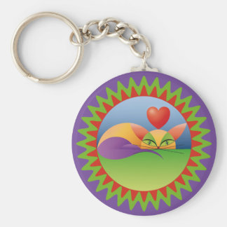 Lindo gato enamorado basic round button key ring