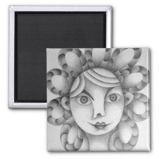 Lindo peinado exótico dibujo lápiz grafito arte square magnet