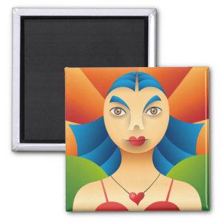 Lindo rostro femenino square magnet